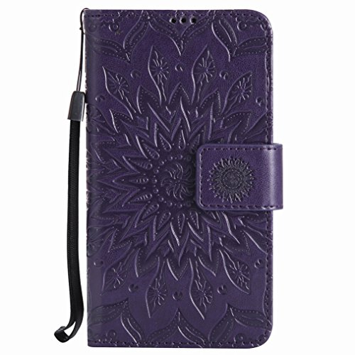 Yiizy Nokia Lumia 630 Custodia Cover, Sole Petali Design Sottile Flip Portafoglio PU Pelle Cuoio Copertura Shell Case Slot Schede Cavalletto Stile Libro Bumper Protettivo Borsa (Porpora)