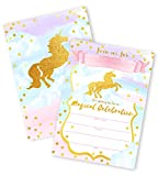 Magical Unicorn 12 LARGE Invitations - 12 Invitations + 12 Envelopes - DOUBLE SIDED