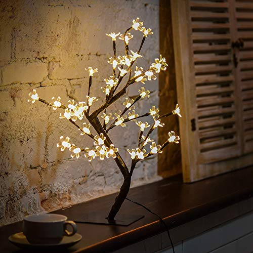 Clearance! 17.42Inch 48Leds Cherry Blossom Desktop Bonsai Tree Light, Black Branches, Perfect for Home Festival Party Wedding Christmas Indoor Outdoor Decoration Power Adapter (Included) (B)
