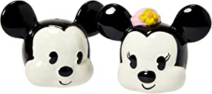 Disney Mickey and Minnie Mouse Ceramic Salt and Pepper Shaker Set - 90th Anniversary Classic Vintage Design - Official Disney Kitchen and Party Decor
