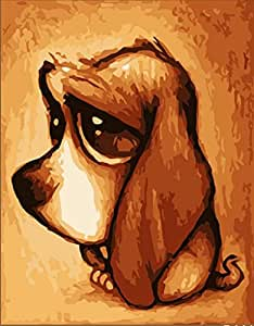 Colour Talk Diy Oil Painting, Paint By Number Kit - Big Ears Dog 16*20 Inch.