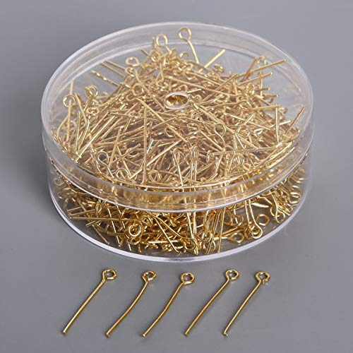 Laliva 450PCS/Box 24mm Length Metal Iron Antique Gold/Rhodium Plated PINS Findings for DIY Jewelry Necklace Chain Findings - (Color: Gold)