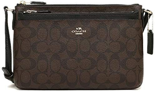 COACH SIGNATURE EAST WEST POP CROSSBODY (Dark Brown/Black)