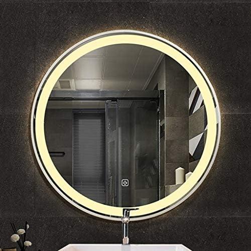 浴室ミラーLEDの金、寝室の洗面所のための壁に取り付けられた円形ミラーの化粧鏡の接触スイッチ (Size : 50cm)