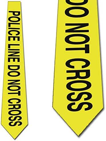 Police Line Do Not Cross Tie Mens Necktie Yellow