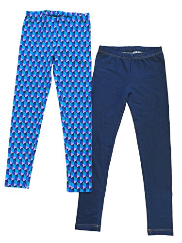 Price comparison product image Kirkland Signature Girls' 2-pack Legging, Checkered and Blue (7/8)