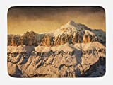 Ambesonne Mountain Bath Mat, Surreal Saturated Photo of The Italian Twin Mountain Peaks with Silent Overcast Sky, Plush Bathroom Decor Mat with Non Slip Backing, 29.5 W X 17.5 W Inches, Sepia