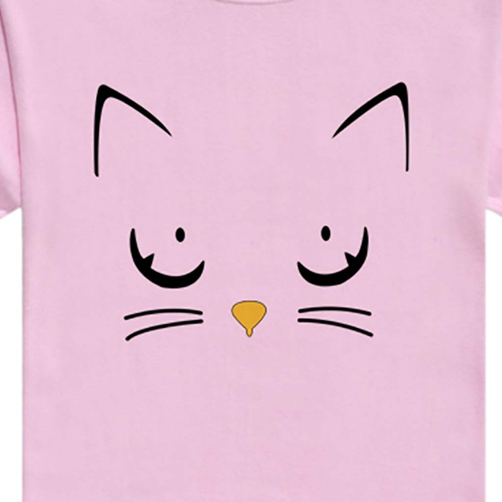 Womens Summer Short Sleeve Casual O-Neck Cute Cat Print Tops Tee Shirts Blouse by ASERTYL (Image #3)