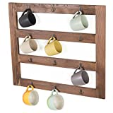 MyGift Wall-Mounted Rustic Wood 12-Hook Coffee Mug Hanging Rack