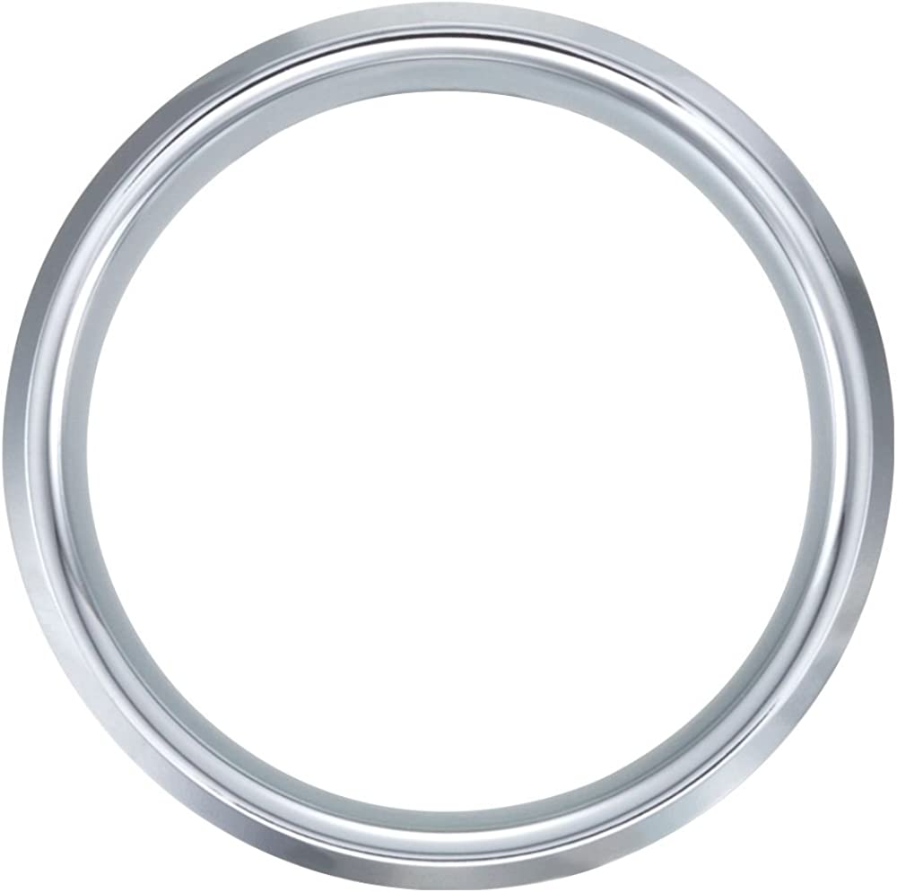 Security Jewelers White Tungsten 8mm Satin /& Beveled Edge Band Size Size 11.5 Ring Size 11.5