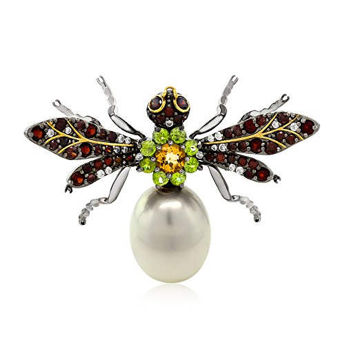 925 Sterling Silver Black&Gold Plated Simulated Shell Pearl Wasp Brooch
