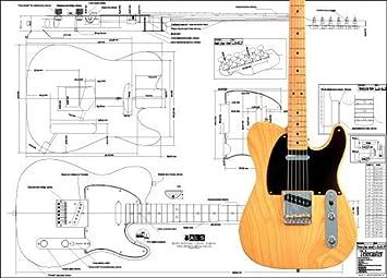 Plan der Fender Telecaster E-Gitarre – Full-Scale Print: Amazon.de ...