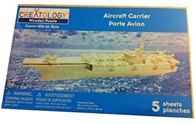 """Creatology 3D Natural Wood Wooden Puzzle Aircraft Carrier 22"""" x 6.7"""" x 7.9"""""""