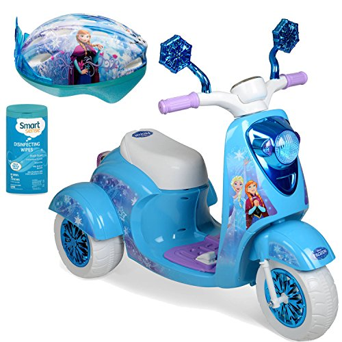 [Disney Frozen 6 Volt Battery Powered Kids Ride On Scooter Toy for Girls, Blue with Helmet, Battery, Charger and Disinfectant] (Ride On Elephant Costume)