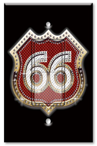 Printed Decora Rocker Style Switch with matching Wall Plate - Route 66 Bling (red) (Switchplate 66 Route)