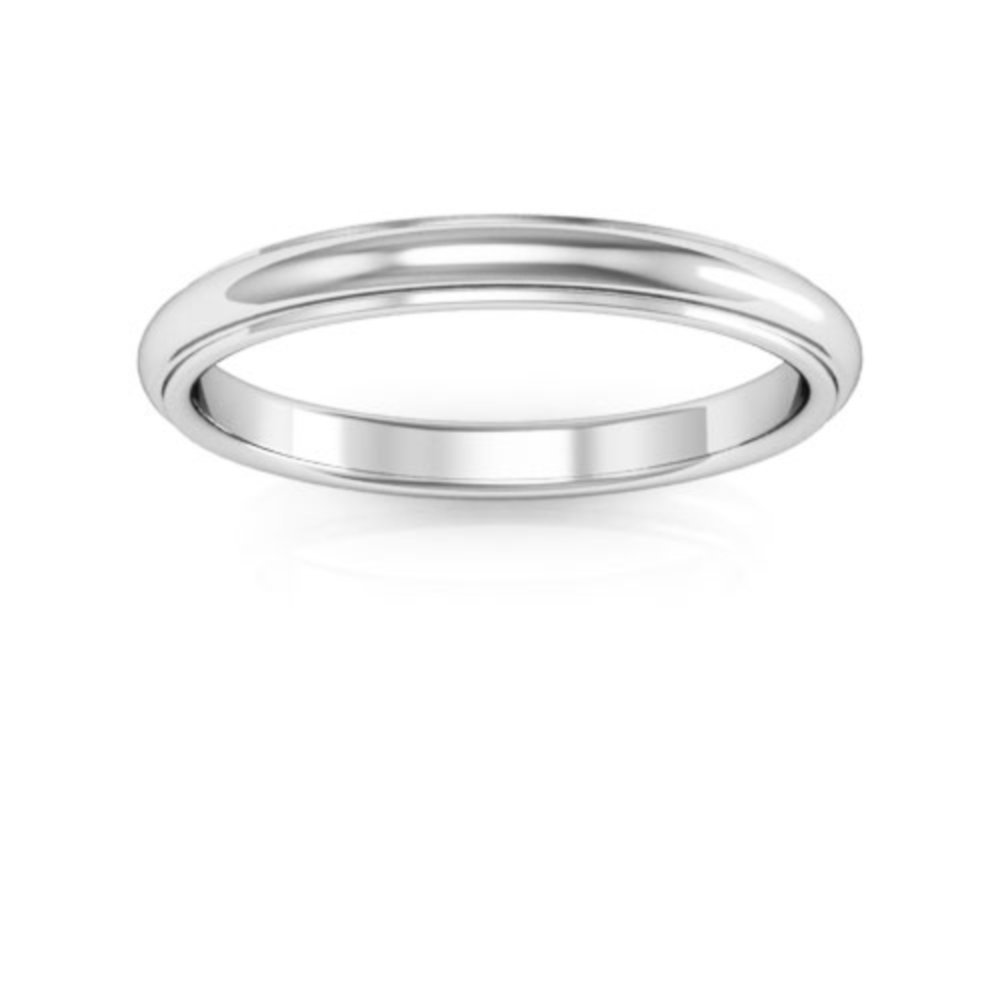 10K White Gold mens and womens plain wedding bands 2.5mm half round edge comfort fit