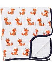 Hudson Baby Muslin Cotton Tranquility Blanket, Foxes, White/Orange/Blue
