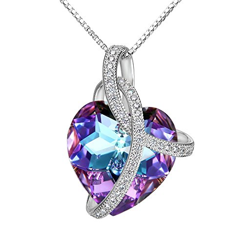 (EleQueen Swarovski Crystals Heart Pendant Necklace-925 Sterling Silver-Cubic Zirconia Necklace-Gifts for Women, Box Chain 19'' Vitrail)
