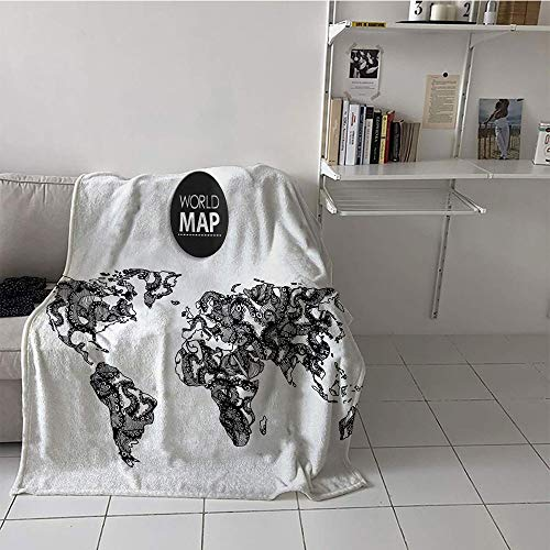 Khaki home Children's Blanket Chair All Season Blanket (30 by 50 Inch,Wanderlust,Modern Elements of Infographics Octopus Animal and The World Map Communication,Black -