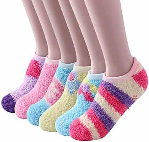 3ed04c4db93d0 Beauttable 6 Pack Women Colorful Indoors Soft Anti-Slip Winter Fluffy Fuzzy Slipper  Socks