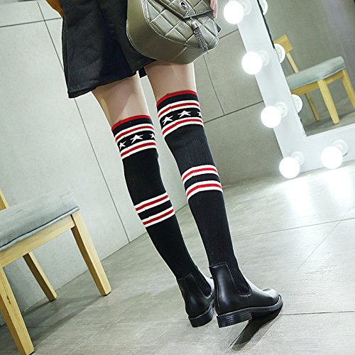 KHSKX-The Wool Boots Boots Tube Stretch Socks Shoes Fashion Boots With High Tide Low Crude Tube Black 9TmsAw00v