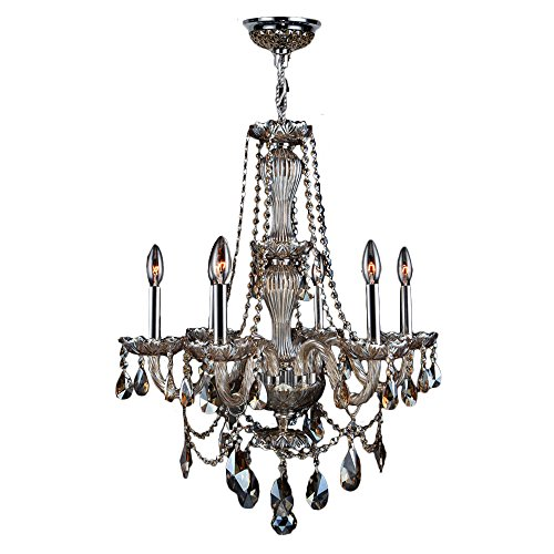 Worldwide Lighting Provence Collection 6 Light Chrome Finish and Golden Teak Crystal Chandelier 23
