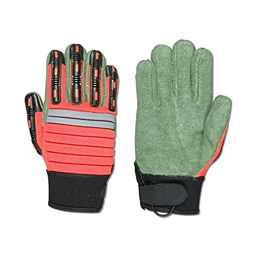 Southern Gloves GMECHO-L Double Woven Green Palm Impact Gloves Accordion Style,Thermoplastic Elastomer on Back of Fingers and Thumb,18 oz. Large