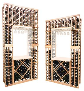 Vintner Series 8 ft Individual Bottle Wine Rack Above with Display and Opening for Archway or Glass Rack Insert with Open Diamond Bin - Diamond Rack Individual