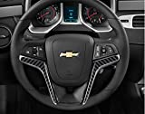2012 - 2015 Camaro Carbon Fiber Steering Wheel Accent Decal Cove Chevy Wrap Skin Do it Yourself kit 2 Units Set by IPG (Black Carbon Fibber)