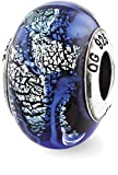 IceCarats 925 Sterling Silver Charm For Bracelet Blue Italian Glass Bead Glas Murano Dichroic