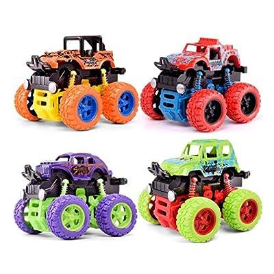 Allpdesky 4 PCS Inertia Shockproof Four-Wheel Drive SUV,Inertia Gears Accelerate Forward/Backward SUV, Anti Crash Toy Car Baby Car: Toys & Games