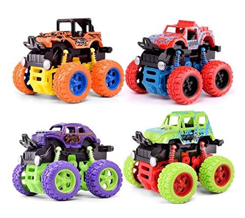 Allpdesky 4 PCS Inertia Shockproof Four-Wheel Drive SUV,Inertia Gears Accelerate Forward/Backward SUV, Anti Crash Toy Car Baby ()