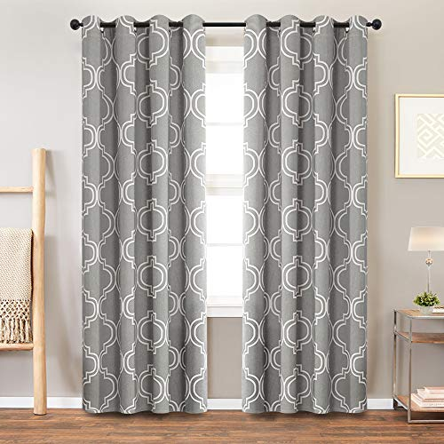 Grey Curtains for Bedroom Room Darkening Moroccan Tile Printed Curtains for Living Room Window Curtain Panels 84 inches Long, Grommet Top, 2 Panels Window Treatment (Moroccan Bedroom)