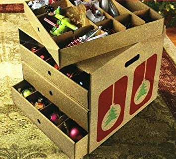 christmas decoration storage large corrugated ornament organizer with dividers hold up to 82 ornaments - Large Cardboard Christmas Decorations