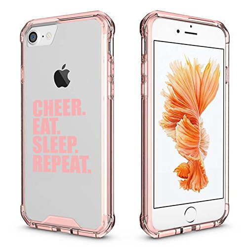 For Apple iPhone Clear Shockproof Bumper Case Hard Cover Cheer Eat Sleep Repeat Cheerleader (Pink For iPhone 6 / 6s)