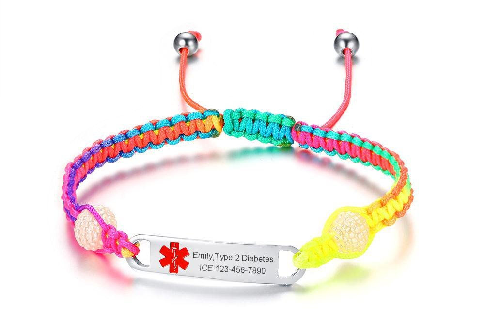 VNOX Emergency Medical Jewelry-Customize Medical Symbol Stainless Steel Handmade Braided Rainbow Rope Adjustable Bracelet