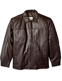Excelled Men's Big and Tall New Zealand Lambskin Leather Classic Open Bottom Jacket