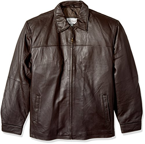 Excelled Men's Big and Tall New Zealand Lambskin Leather Classic Open Bottom Jacket, Brown, 3XLT - New Zealand Lamb Jacket