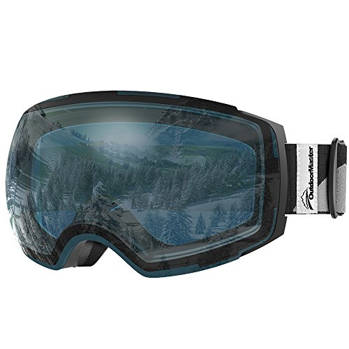 OutdoorMaster Ski Goggles PRO - Frameless, Interchangeable Lens 100% UV400 Protection Snow Goggles for Men & Women ( Black Frame VLT 60% L.Blue Lens and Free Protective Case ) (Goggles Polarized Ski Anti Fog)