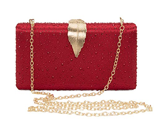 Sparkling Envelope Evening Clutch Purse for Women Vandysi Elegant Crystal Bag with Leaf Clasp for Wedding Party Red