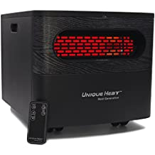 Unique Heat Infrared Space Heater, Home & Office Whole Room Heater Infrared with UV Light Air Purifier, Remote Control, Illuminated Display, Carrying Handles, Quiet, Lightweight 15 Lbs.
