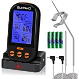 SUNAVO MT-05 Grilling thermometer Wireless Thermometer Meat Digital with Timer Alarm for Turkey Grilling Oven Kitchen Smoker BBQ Grill with Dual Temperature Probe Thanksgiving Day