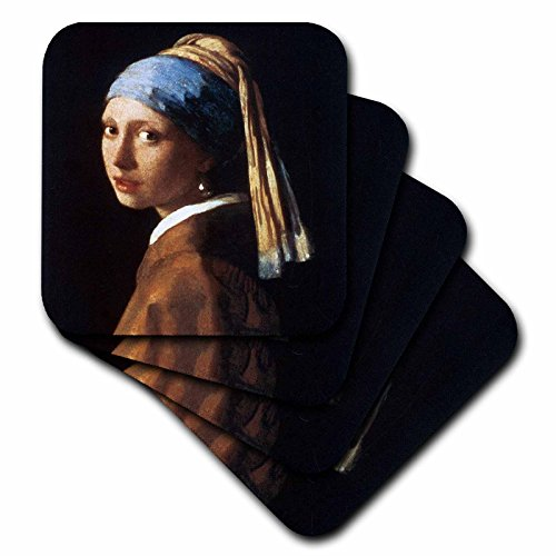 3dRose cst_128108_3 Girl with a Pearl Earring by Jan Vermeer Ceramic Tile Coasters, Set of - Ceramic Set Earrings