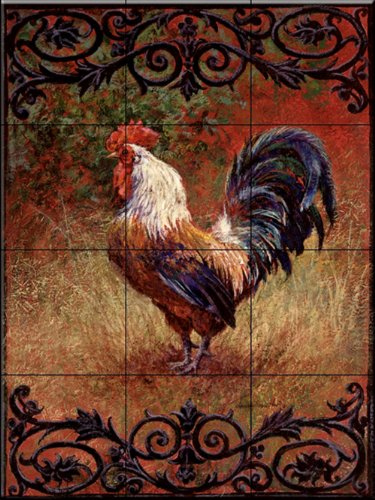 Ceramic Tile Mural - Iron Gate Rooster I - by Laurie Snow Hein - Kitchen backsplash/Bathroom shower