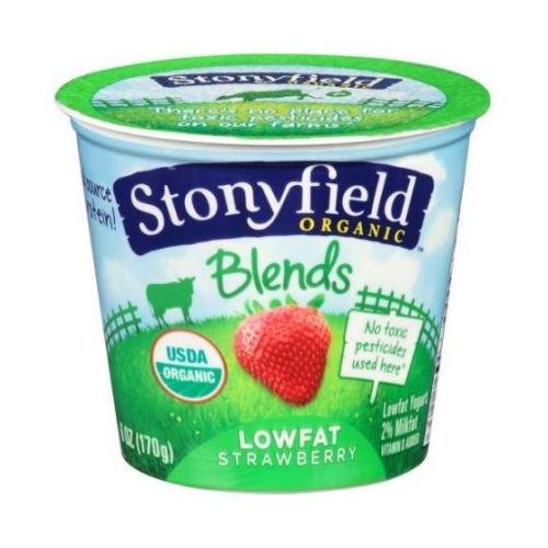 Stonyfield Farm Organic Low Fat Strawberry Blends Yogurt, 6 Ounce - 12 per case.