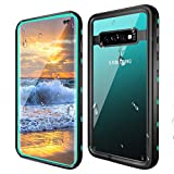 Samsung Galaxy S10 Plus Waterproof Case, IP68 Certified Waterproof Shockproof Snowproof Dustproof Full-Body Rugged Case with Built-in-Screen Protector for Galaxy S10+ Plus 6.4inch (Clear+Blue)