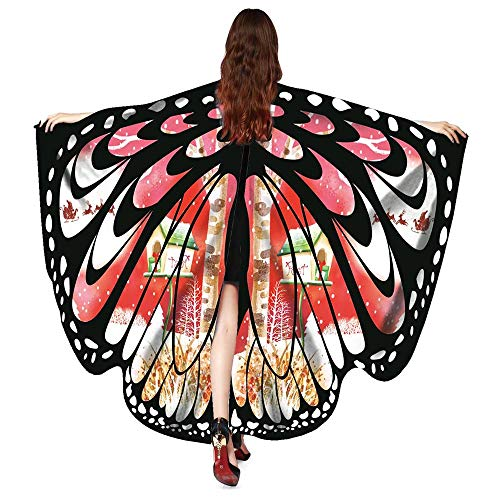 VESNIBA Women Christmas Butterfly Wings Shawl Scarves Poncho Costume Accessory -