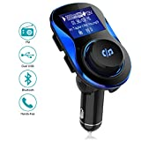 olagoya Bluetooth FM Transmitter for Car, Wireless in-Car Radio Transmitter Adapter with 1.4 Inch Display, Dual USB Charger, AUX Input/Output, TF Card Mp3 Player