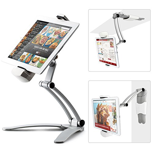 Kitchen Tablet Mount Stand iKross 2-in-1 Kitchen Wall / CounterTop Desktop Mount recipe Holder Stand For 7 to 13 Inch Tablet fits 2017 iPad Pro 12.9 / 9.7 / Air / Mini, Surface Pro, Nintendo Switch (Book Online Cabinet)