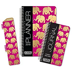 Best Planner 2018 Agenda for Productivity, Durability and Style. 5x8 Daily Planner / Weekly Planner / Monthly Planner / Yearly Agenda. HARDCOVER Organizer with BOOKMARK and JOURNAL (Elephants)